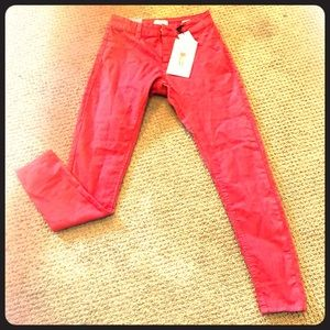 Red mid rise jeggings